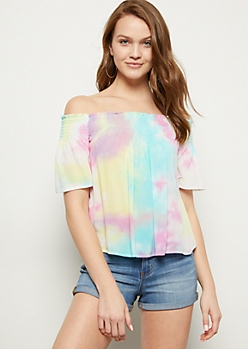 Pastel Rainbow Tie Dye Off The Shoulder Top