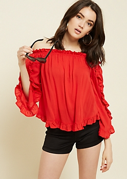 Red Ruffled Off The Shoulder Top