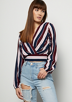 Burgundy Striped Deep Surplice Crop Top