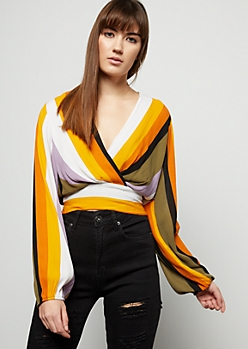 Mustard Striped Deep Surplice Crop Top