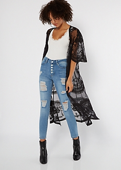 Black Sheer Floral Embroidered Duster Kimono