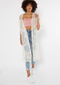 Ivory Sheer Floral Embroidered Duster Kimono