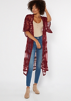 Burgundy Sheer Floral Embroidered Duster Kimono
