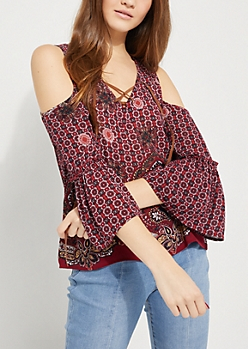 Lace Up Floral Cold Shoulder Top
