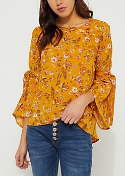 Mustard Floral Bell Tie Sleeve Blouse