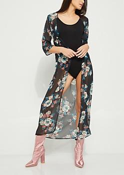Black Floral Long Length Kimono