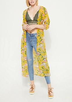 Mustard Floral Long Length Kimono