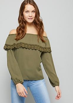 Olive Off The Shoulder Crochet Trimmed Flounce Top