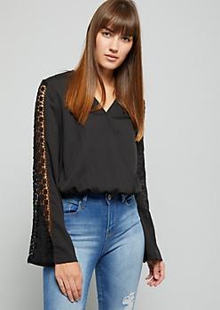 Black Crochet Cut Out Sleeve Blouse