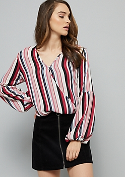 Pink Striped Bubble Sleeve Surplice Blouse