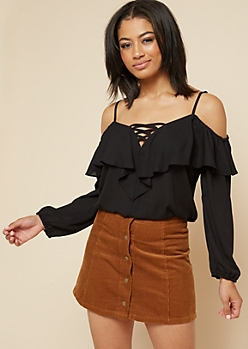 Black Ruffled Cold Shoulder Blouse