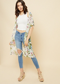 Ivory Tropical Floral Print Long Length Kimono