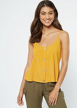 Mustard Button Down Tank Top