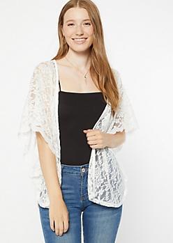 Ivory Floral Lace Dolman Sleeve Kimono