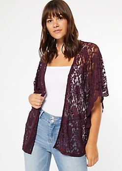 Dark Purple Floral Lace Dolman Sleeve Kimono