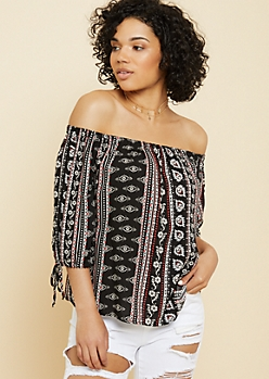Black Mixed Print Off The Shoulder Tied Cuff Top