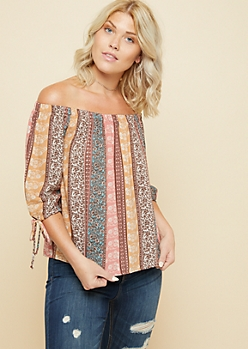 Brown Mixed Print Off The Shoulder Tied Cuff Top