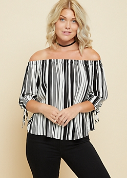 Black Vertical Striped Off The Shoulder Tied Cuff Top