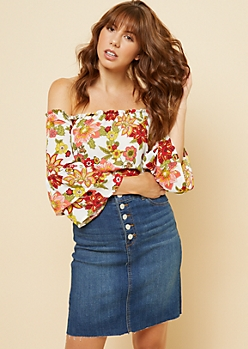 Pink Floral Print Off The Shoulder Flutter Sleeve Top