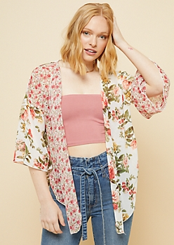 Ivory Patchwork Floral Print Bell Sleeve Open Front Kimono