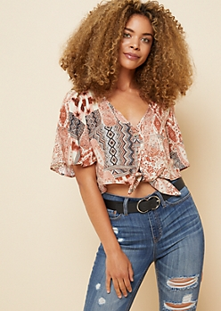 Gray Abstract Paisley Pattern Knot Front Button Down Crop Top