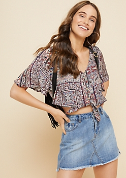 Burgundy Paisley Pattern Knot Front Button Down Crop Top