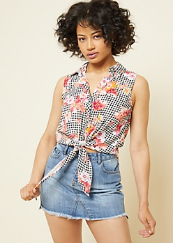 Black Gingham Floral Print Tie Front Sleeveless Button Down Top