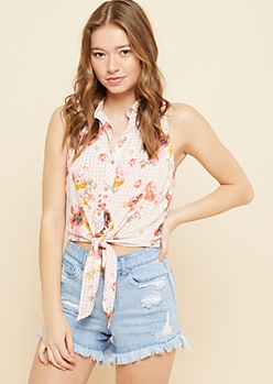 Pink Gingham Floral Print Tie Front Sleeveless Button Down Top