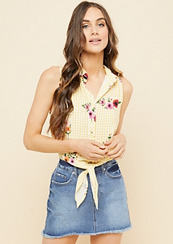 Yellow Gingham Floral Print Tie Front Sleeveless Button Down Top