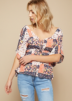 Coral Abstract Print Flutter Sleeve Blouse
