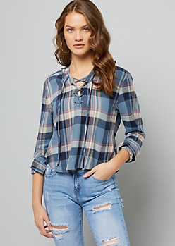 Blue Plaid Pattern Pullover Flannel Hoodie