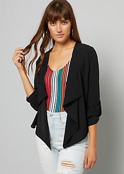 Black Roll Tab Sleeve Woven Blazer