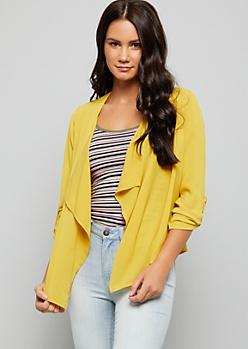 Mustard Roll Tab Sleeve Woven Blazer