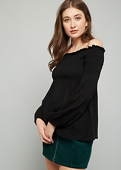 Black Smocked Off The Shoulder Top