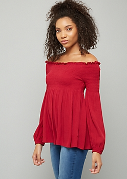 Burgundy Smocked Off The Shoulder Top