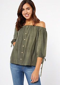 Olive Washed Off The Shoulder Tie Sleeve Top