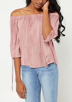 Light Pink Washed Off Shoulder Top