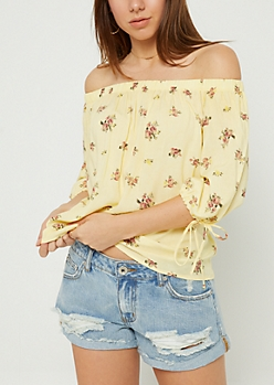 Light Yellow Floral Washed Off-The-Shoulder Top