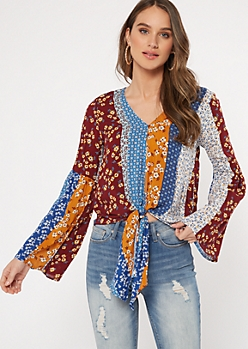 Burgundy Floral Print Bell Sleeve Tie Front Blouse