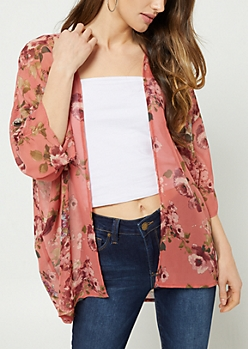 Dark Pink Floral Print Ruched Sleeves Kimono