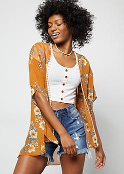 Burnt Orange Floral Print Crochet Trim Kimono