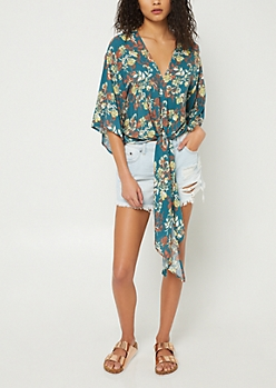 Teal Floral Print Tied Open Sleeve Blouse