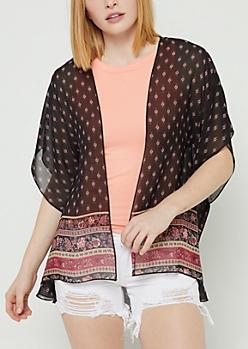 Black Dolman Sleeve Chiffon Kimono