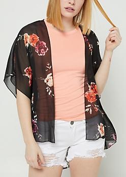 Black Floral Print Chiffon Kimono