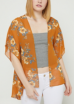 Cream Floral Print Chiffon Kimono
