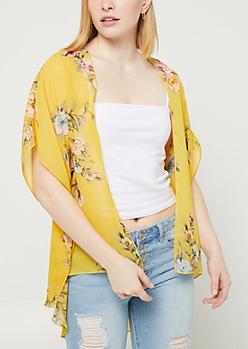 Yellow Floral Print Chiffon Kimono