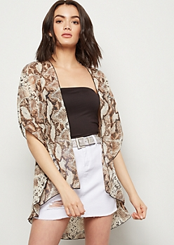 Snakeskin Print Side Slit Kimono
