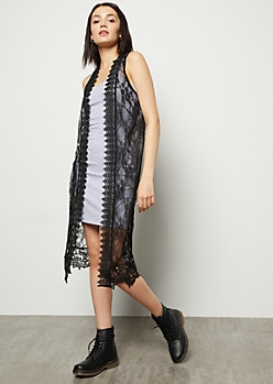 Black Lace Crochet Duster Vest