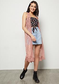 Pink Lace Crochet Duster Vest