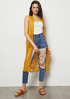 Mustard Lace Crochet Duster Vest